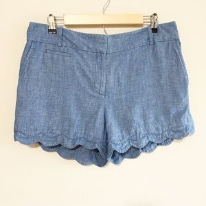 Loft Linen Cotton Riviera Scalloped Shorts